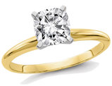 1.00 Carat (1.10 Ct. Look) Cushion Cut Synthetic Moissanite Solitaire Engagement Ring in 14K Yellow Gold