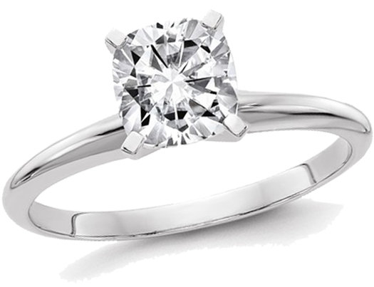 14K White Gold Cushion Cut Synthetic Moissanite Solitaire Engagement Ring 1.00 Carat (1.10 Ct. Look)
