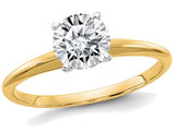 14K Yellow Gold Round Cut Synthetic Moissanite Solitaire Engagement Ring 1.00 Carat (1.00 Ct. Look)