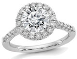 1.30 Carat (ctw) (1 1/3  Ct. Look) Round Cut Synthetic Moissanite Halo Engagement Ring in 14K White Gold
