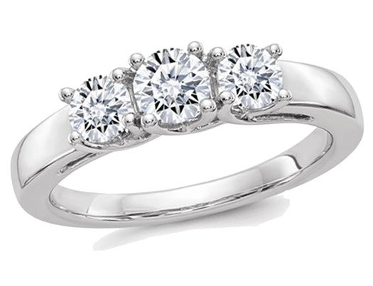 1.00 Carat (1.05 Ct. Look) Synthetic Moissanite Three Stone Anniversary Engagement Ring in 14K White Gold