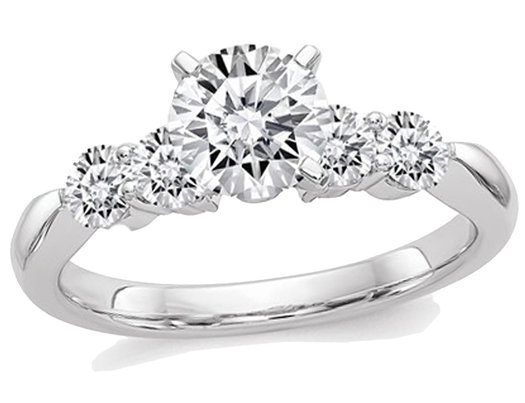 2.35 Carat (ctw) (2.65 Ct. Look) Round Cut Synthetic Moissanite Anniversary Engagement Ring in 14K White Gold