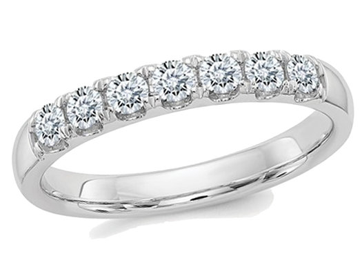 1.00 Carat (ctw) (1.10 Ct. Look) Synthetic Moissanite Anniversary Wedding Band Ring in 14K White Gold