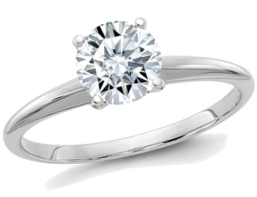 3.00 Carat (3.10 Ct. Look) Round Cut Synthetic Moissanite Solitaire Engagement Ring 14K White Gold