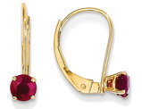 Natural Red Ruby 3/4 Carat (ctw) Leverback Earrings in 14K Yellow Gold