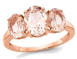 Ladies Three Stone 14K Rose Pink Gold 3.10 Carat (ctw) Morganite Ring