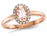 Ladies 14K Rose Pink Gold 3/4 Carat (ctw) Morganite Halo Ring with Diamonds 1/10 Carat (ctw)