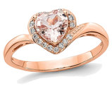 Ladies 14K Rose Pink Gold 7/10 Carat (ctw) Morganite Heart Promise Ring with Diamonds 1/10 Carat (ctw)