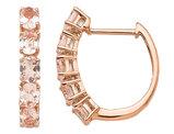 14K Rose Pink Gold Morganite 1.70 Carat (ctw) Hinged Hoop Earrings