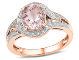 10K Rose Pink Gold 1.50 Carat (ctw) Natural Morganite Ring with Diamonds 1/8 Carat (ctw) (I1-I2 Color H-I)