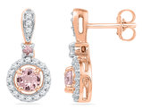 10K Rose Pink Gold 7/8 Carat (ctw) Lab Created Morganite Dangle Earrings with Diamonds 1/4 Carat (ctw I2, Color G-H)