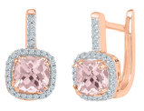 10K Rose Pink Gold 7/8 Carat (ctw) Lab Created Morganite Dangle Earrings with Diamonds 1/8 Carat (ctw I2-I3, Color J-K