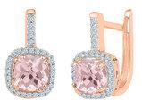 10K Rose Pink Gold 7/8 Carat (ctw) Lab Created Morganite Dangle Earrings with Diamonds 1/8 Carat (ctw I2-I3, Color J-K