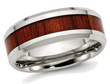 Men's Stainless Steel 8mm Polished Red Wood Inlay Wedding Band