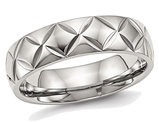 Men's or Ladies Stainless Steel 6mm Diamond Cut Wedding Band with Ridge