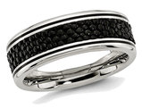 Men's Stainless Steel 8mm Grooved Stingray Inlay Wedding Band