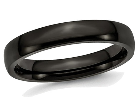 Men's or Ladies Black Plated Stainless Steel 4mm Plated Wedding Band