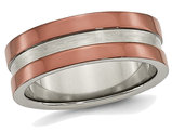 Men's Chisel Titanium 8mm Wedding Band with  Brown Plating