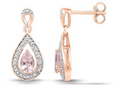 10K Rose Pink Gold 3/8 Carat (ctw) Lab Created Morganite Dangle Earrings With Accent Diamonds