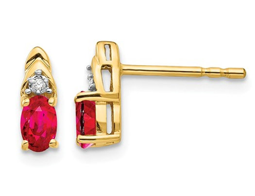 Natural Red Ruby 1/2 Carat (ctw) Stud Earrings in 14K Yellow Gold with Accent Diamonds