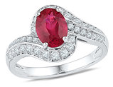 Lab Created Ruby Ring 1 5/8 Carat (ctw) in 10K White Gold with Diamonds 3/8 Carat (ctw)