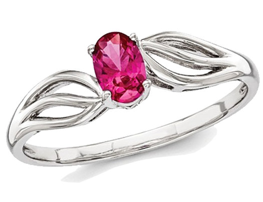 Lab Created Ruby Ring 1/2 Carat (ctw) in Rhodium Plated Sterling Silver