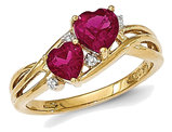 Lab Created Ruby Heart Promise Ring 1.60 Carat (ctw) in 14K Yellow Gold