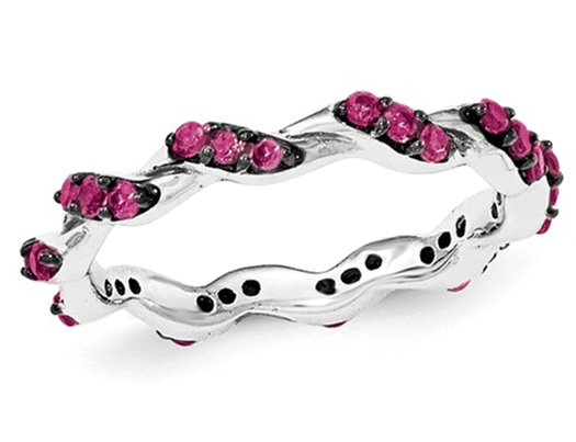 Created Synthetic Ruby Eternity Band Twist Ring 2/5 Carat (ctw) in Sterling Silver