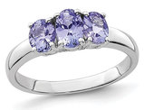 1.15 Carat (ctw) Three Stone Tanzanite Ring in Sterling Silver
