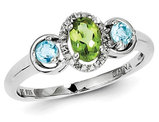 Ladies Natural Peridot and Blue Topaz Ring 1/2 Carat (ctw) in Sterling Silver