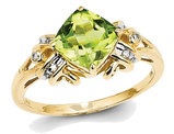 Ladies Natural Cushion Cut Peridot 1.20 Carat (ctw) Ring in 14K Yellow Gold with Accent Diamonds