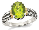 Ladies Natural Peridot Ring in Sterling Silver with 14K Gold Accents