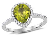 Lab Created Peridot Ring 1.75 Carat (ctw) in 14K White Gold with Diamonds 1/4 Carat (ctw G-H, SI2)