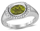 1.30 Carat (ctw) Natural Peridot Ring in 14K White Gold with Diamonds 1/6 Carat (ctw G-H, SI2)