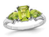 Natural Peridot Ring 0.95 Carat (ctw) in Sterling Silver