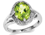 Ladies Natural Peridot Ring 3.60 Carat (ctw) in Sterling Silver with Accent Diamonds 1/12 Carat