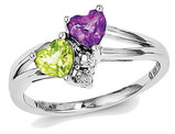 Natural Amethyst and Peridot Heart Ring 7/10 Carat (ctw) in Sterling Silver