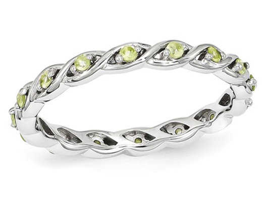 Natural Green Peridot 1/4 Carat (ctw) Eternity Twist Band Ring in Sterling Silver