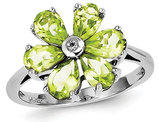 Ladies Natural Peridot Flower Ring 2.55 Carat (ctw) in Sterling Silver