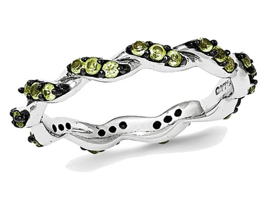 Natural Green Peridot 0.60 Carat (ctw) Eternity Twist Band Ring in Sterling Silver