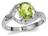 Ladies Natural Peridot Ring 1.25 Carat (ctw) in Sterling Silver