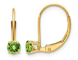 Natural Round Peridot Leverback Earrings 0.60 Carat (ctw) in 14K Yellow Gold