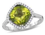 2 5/8 Carat (ctw) Peridot Ring in 14K White Gold with Diamonds 1/4 Carat (ctw H-I, I1-I2)