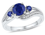 1.00 Carat (ctw) Three Stone Lab Created Blue Sapphire Ring in Sterling Silver and Accent Diamonds 1/10 Carat (ctw)