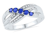 Ladies 1/2 Carat (ctw) Lab Created Blue Sapphire Ring in 10K White Gold with Accent Diamonds