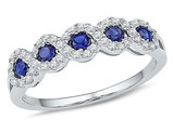 1/3 Carat (ctw) Lab Created Blue Sapphire Ring in 10K White Gold with Accent Diamonds 1/4 Carat (ctw)