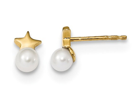 14K Yellow Gold Freshwater Cultured Pearl Post Earrings