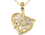 Butterfly Heart Pendant Necklace in 14K Yellow Gold with Chain