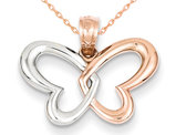 14K Rose Pink Gold Open Butterfly Heart Pendant Necklace with Chain