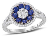 Blue Sapphire 5/8 Carat (ctw) Ring in 18K White Gold with Diamonds 3/8 Carat (ctw)
